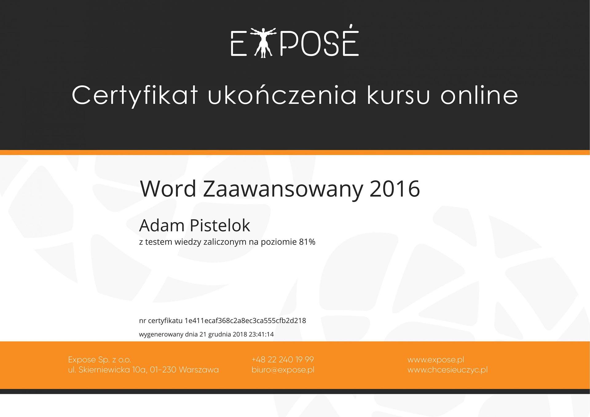 Word zaawansowany 2016