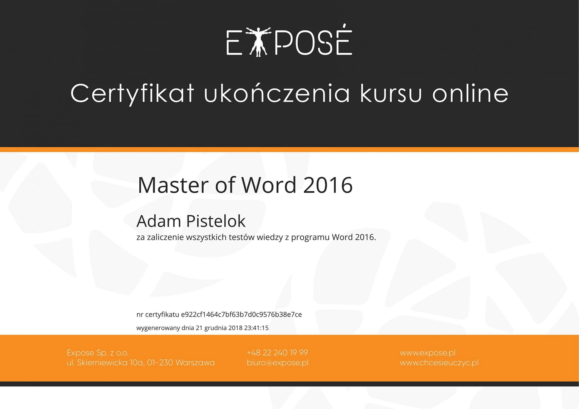 Master of word 2016