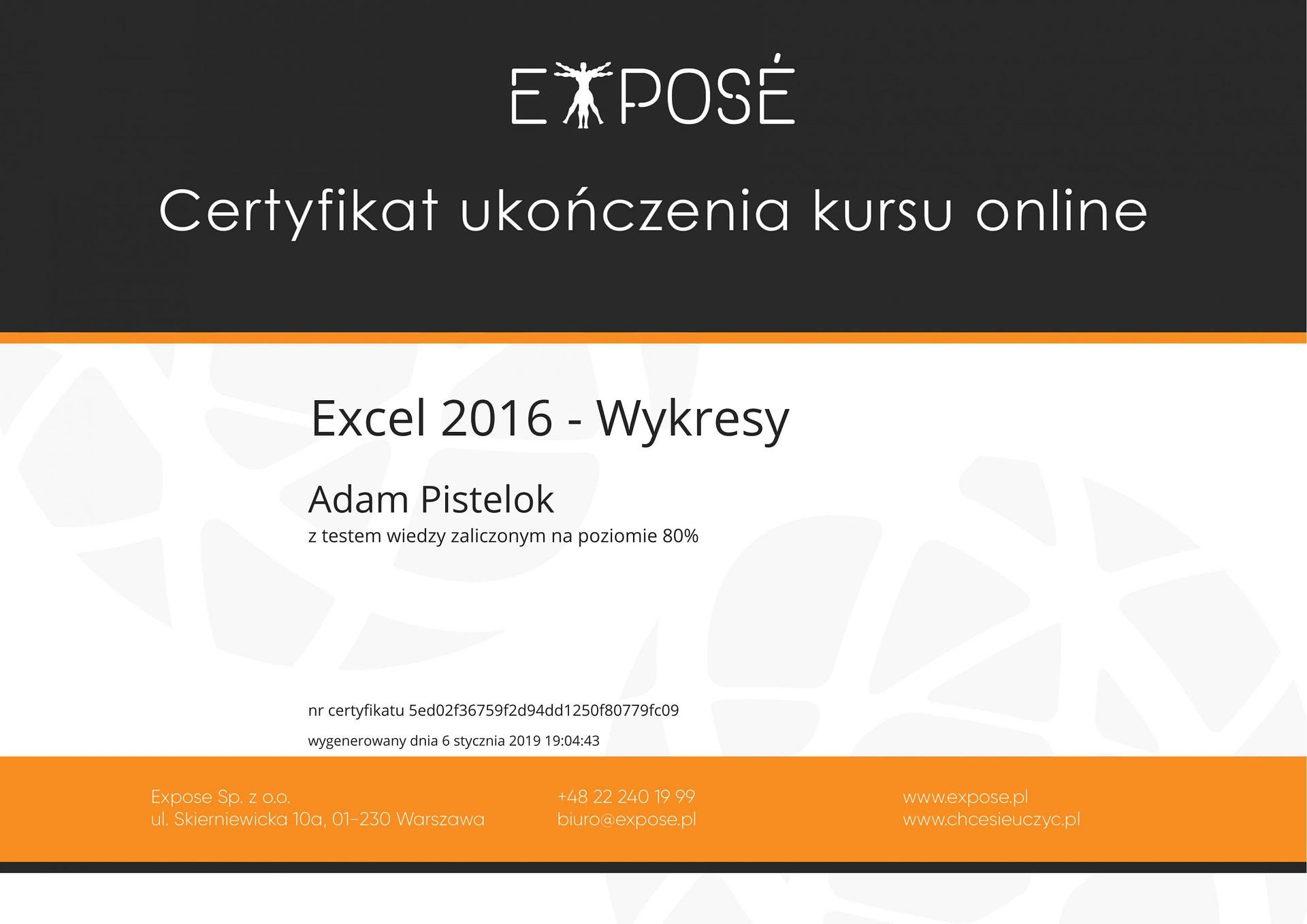 Excel 2016 wykresy